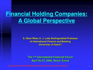 Financial Holding Companies:  A Global Perspective