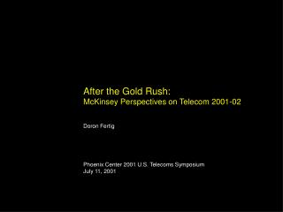 After the Gold Rush: McKinsey Perspectives on Telecom 2001-02