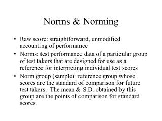 Norms & Norming