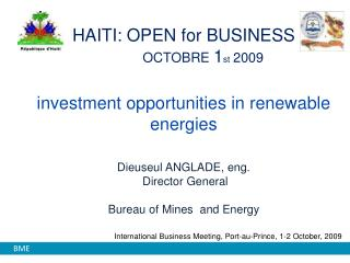 International Business Meeting, Port-au-Prince, 1-2  October , 2009