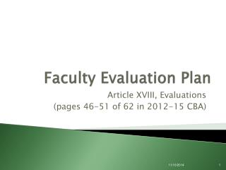 Faculty Evaluation Plan