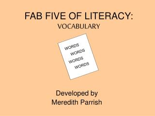 FAB FIVE OF LITERACY: VOCABULARY