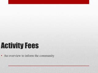 Activity Fees