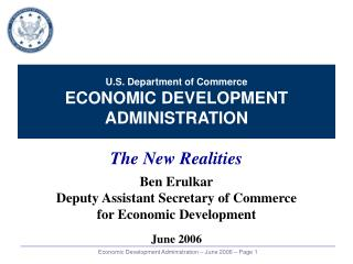 U.S. Department of Commerce ECONOMIC DEVELOPMENT ADMINISTRATION