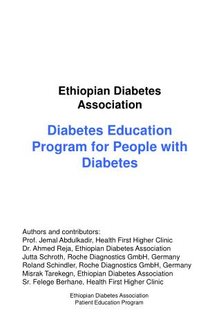 Ethiopian Diabetes Association Diabetes Education  Program for People with Diabetes