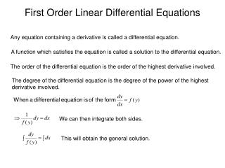 First Order Linear Differential Equations