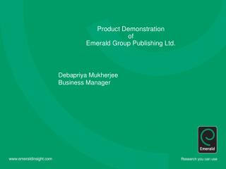 Product Demonstration of  Emerald Group Publishing Ltd.