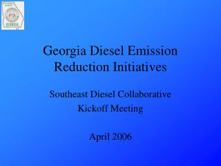 Georgia Diesel Emission Reduction Initiatives