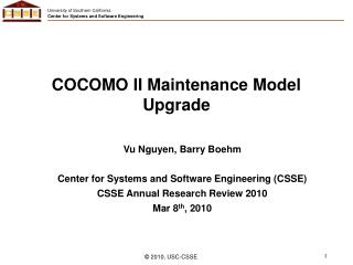 COCOMO II Maintenance Model Upgrade