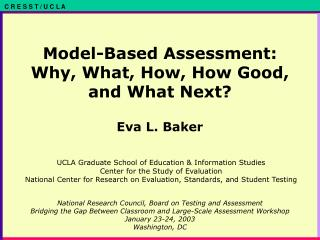 Model-Based Assessment: Why, What, How, How Good, and What Next?
