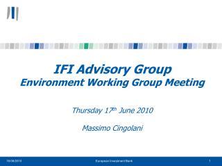 IFI Advisory Group Environment Working Group Meeting Thursday 17 th  June 2010 Massimo Cingolani