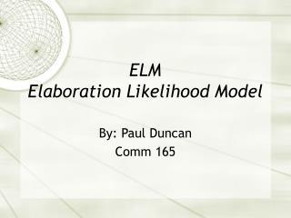 ELM Elaboration Likelihood Model