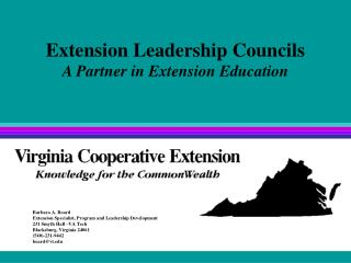 Extension Leadership Councils A Partner in Extension Education