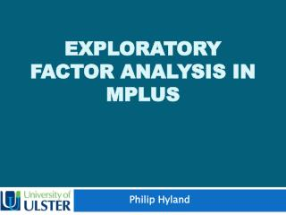 Exploratory Factor Analysis in MPLUS