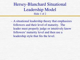 Situational Theory of Leadership
