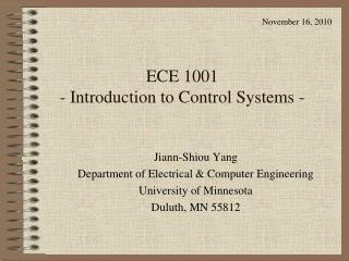ECE 1001  - Introduction to Control Systems -