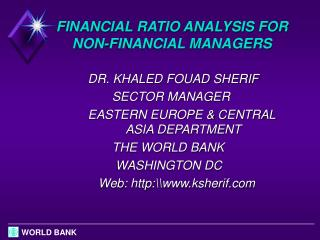 FINANCIAL RATIO ANALYSIS FOR NON-FINANCIAL MANAGERS