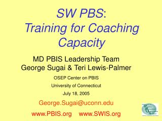 SW PBS : Training for Coaching Capacity