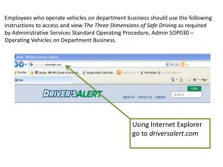 Using Internet Explorer go to  driversalert