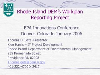 Rhode Island DEM's Workplan Reporting Project