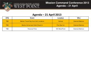 Agenda –  21  April  2013