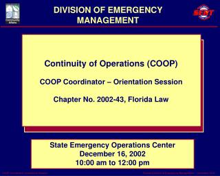 DIVISION OF EMERGENCY MANAGEMENT