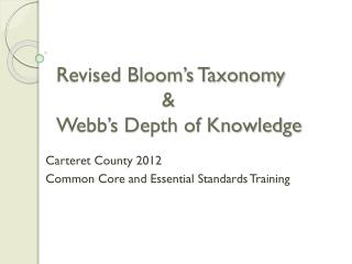 Revised Bloom's Taxonomy 			& Webb's Depth of Knowledge