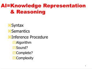 AI=Knowledge Representation       & Reasoning
