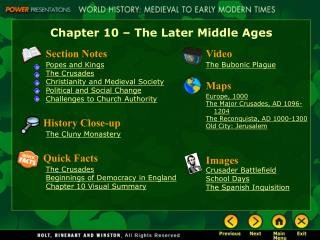Chapter 10   The Later Middle Ages