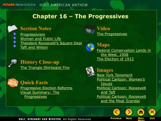Chapter 16   The Progressives