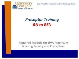 Preceptor  Training RN to  BSN