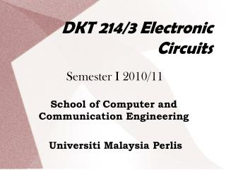DKT 214/3 Electronic Circuits