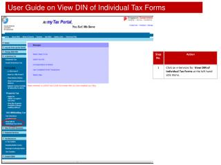 User Guide on View DIN of Individual Tax Forms