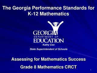 Assessing for Mathematics Success Grade 8 Mathematics CRCT