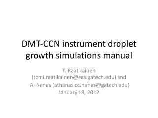 DMT-CCN instrument droplet growth simulations manual