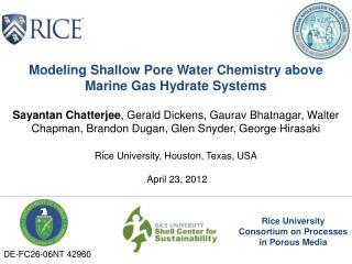 Rice University Consortium  on Processes in Porous Media