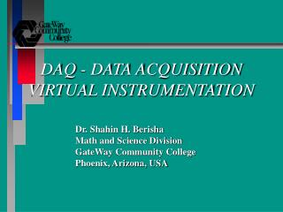 DAQ - DATA ACQUISITION VIRTUAL INSTRUMENTATION
