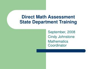 Direct Math Assessment State Department Training