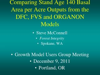 Comparing Stand Age 140 Basal Area per Acre Outputs from the DFC, FVS and ORGANON Models