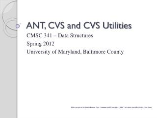 ANT, CVS and CVS Utilities