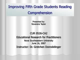 Improving Fifth Grade Students Reading Comprehension