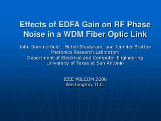 Effects of EDFA Gain on RF Phase Noise in a WDM Fiber Optic Link