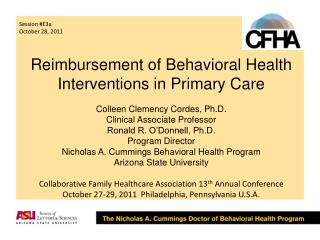 Reimbursement of Behavioral Health Interventions in Primary Care