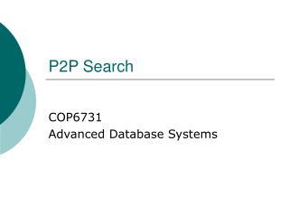 P2P Search