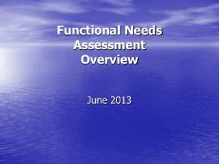 Functional Needs Assessment  Overview