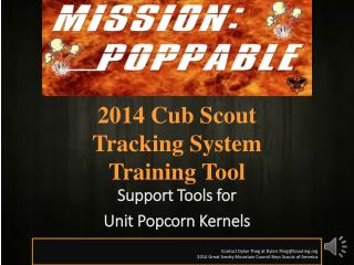 2014 Cub Scout  Tracking System Training Tool