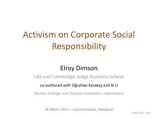 Activism on Corporate Social Responsibility