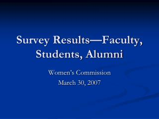 Survey Results—Faculty, Students, Alumni
