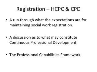 Registration – HCPC & CPD