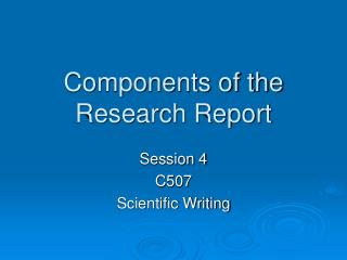Components of the Research Report